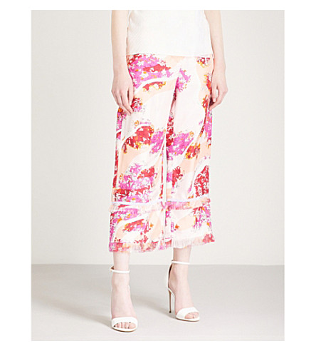 print cropped rise Floral high EMILIO trousers Ciliegia wide silk PUCCI T4CqWwZ