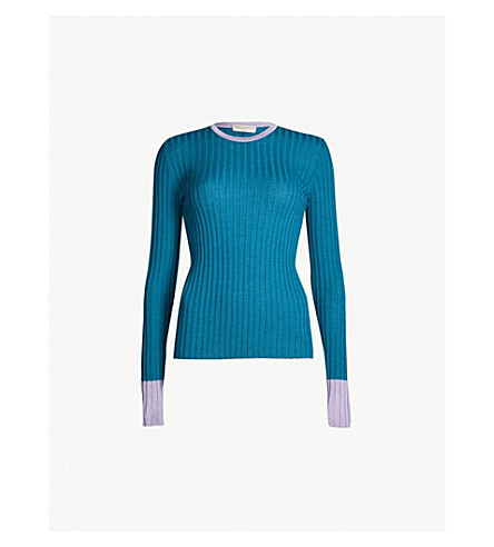 EMILIO PUCCI Ribbed wool top (Oceano