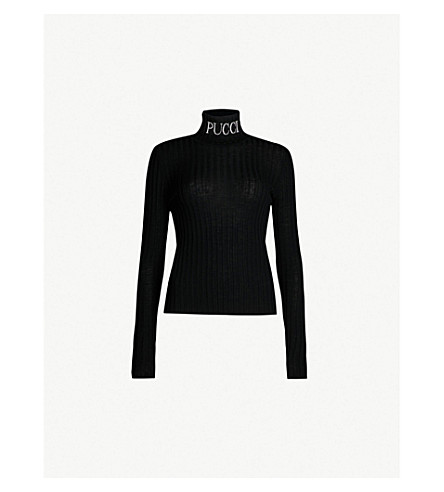 EMILIO PUCCI Logo-embroidered ribbed-knit turtleneck top (Nero