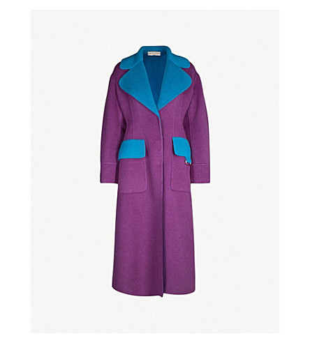 EMILIO PUCCI Two-tone oversized wool-blend coat (Viola oceano