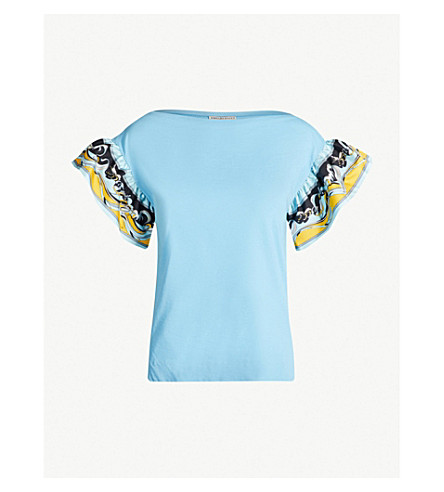 EMILIO PUCCI Ruffled-sleeve cotton-jersey T-shirt (Turchese siracusa