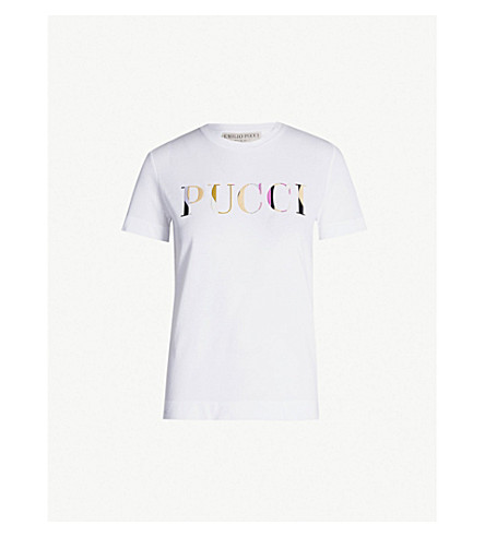 EMILIO PUCCI Logo-print cotton-jersey T-shirt (Bianco ottico