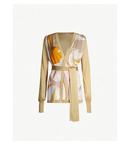 EMILIO PUCCI Printed silk-panelled knitted cardigan (Senape