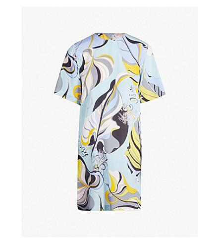 EMILIO PUCCI Signature-print silk-crepe dress (Celeste