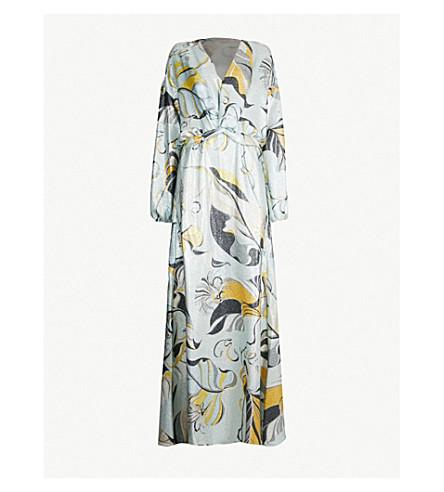 EMILIO PUCCI V-neck printed silk-blend gown (Celeste