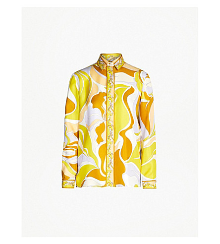 EMILIO PUCCI Printed silk-twill shirt (Giallo