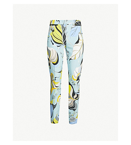 EMILIO PUCCI Mid-rise printed stretch-jersey skinny pants (Celeste