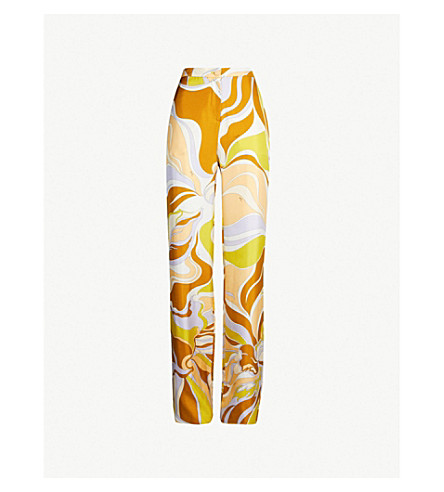 EMILIO PUCCI High-rise printed silk-twill wide-leg trousers (Giallo