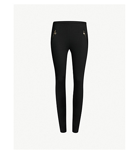 EMILIO PUCCI Zip pocket high-rise stretch-jersey skinny trousers (Nero