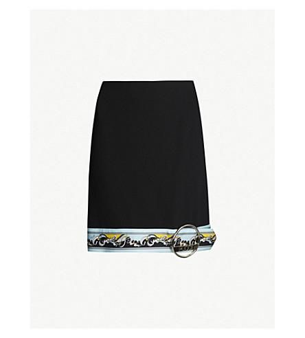 EMILIO PUCCI High-waist printed-trim wool-blend mini skirt (Nero