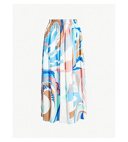 EMILIO PUCCI Pleated printed silk-crepe midi skirt (Talpa fioraliso