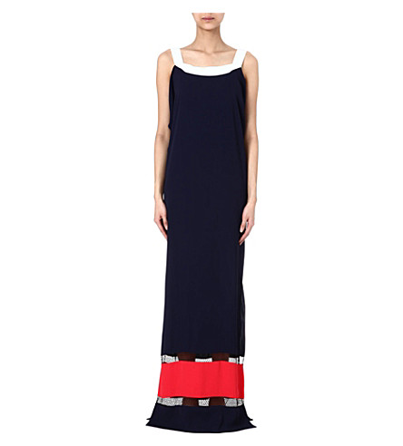 VIONNET Colourblocked maxi dress (Ribes/ off wht / viscoe