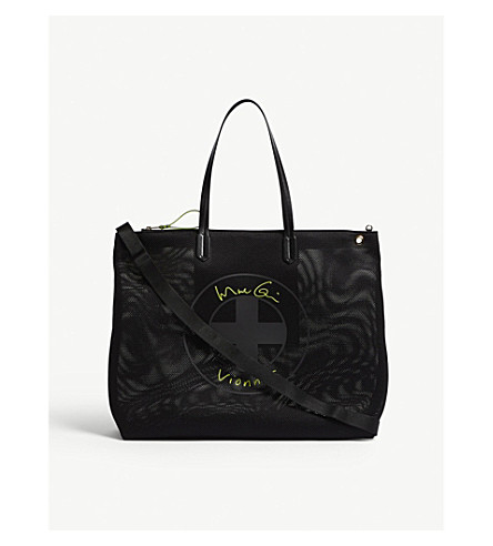 VIONNET Large logo flat tote bag (Black/yellow