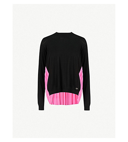 VIONNET Panelled wool and silk jumper (Black/bright pink