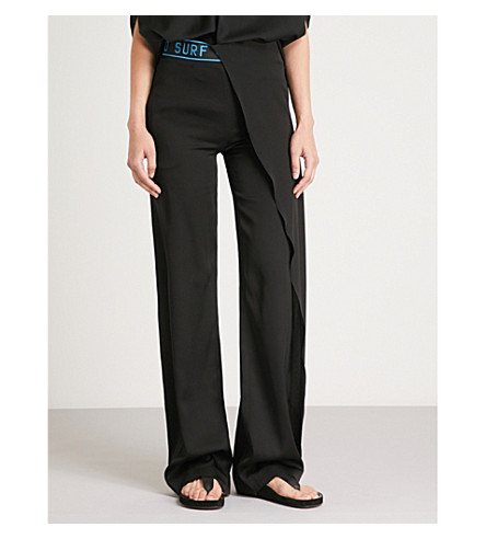 VIONNET Asymmetric high-rise straight silk-satin trousers (Black
