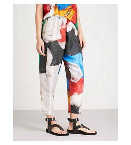 VIONNET Vionnet x Marc Quinn printed high-rise straight silk-satin trousers (Marc quinn print