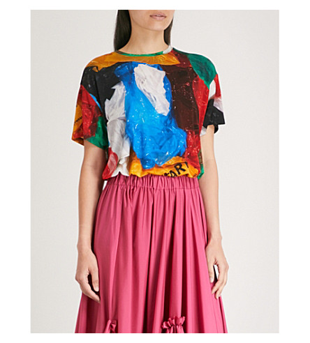 VIONNETvionnet x MARC QUINN 塑料袋弹力平纹针织 T 恤 (MARC + 奎因 + 打印