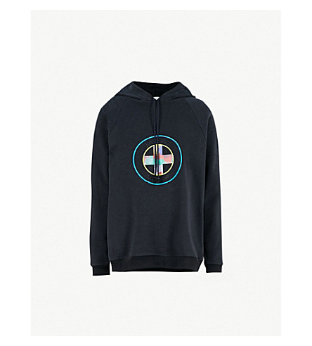 VIONNET Vionnet x Marc Quinn logo-print cotton-fleece hoody (Night blue
