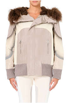 MARC JACOBS Silk bomber jacket with lamb fur hood