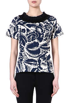 MARC JACOBS Short sleeved top with embellished neck