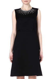 MARC JACOBS Embellished-neckline silk-blend dress