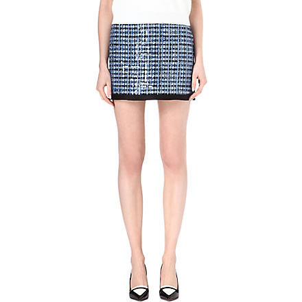 MARC JACOBS Sequin-embellished tweed mini skirt (Blue