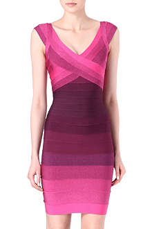 HERVE LEGER Tonal v-neck dress