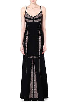 HERVE LEGER Mesh panel maxi dress