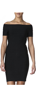 HERVE LEGER Off-shoulder bandage dress