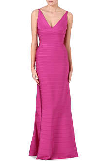 HERVE LEGER Bodycon wave-hem gown