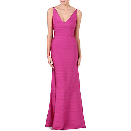 HERVE LEGER Bodycon wave-hem gown (Caprice