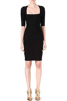 HERVE LEGER Scallop-edged bandage dress