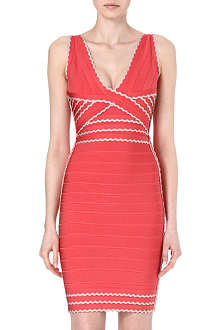 HERVE LEGER Scalloped bandage dress