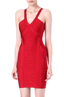 HERVE LEGER V-neck bandage dress