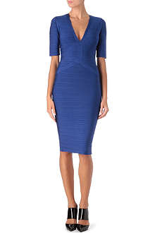 HERVE LEGER V-neck dress