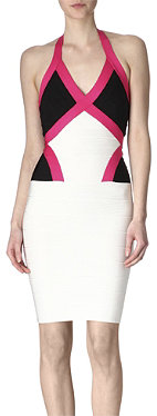 HERVE LEGER Colourblock bandage dress