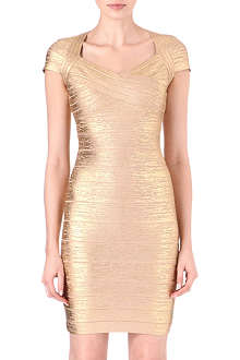 HERVE LEGER Square-neck cross bust bandage dress