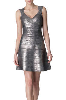 HERVE LEGER Skirted metallic bandage dress