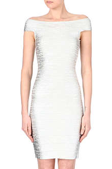 HERVE LEGER Boat neck bandage dress