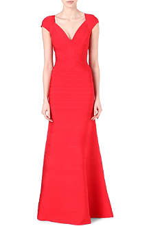 HERVE LEGER Cap-sleeved bandage gown