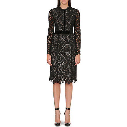 ERDEM Fitted lace midi dress (Black