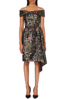 ERDEM Asymmetric brocade corset dress