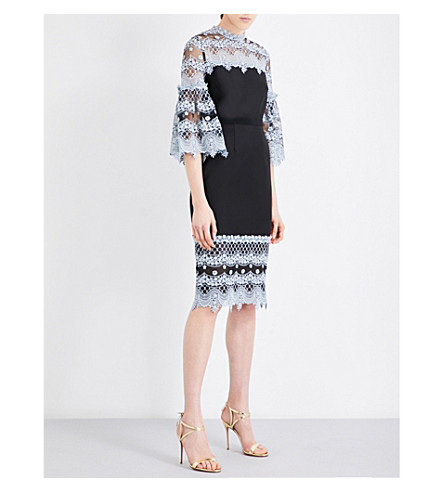 ERDEM Kiya chiffon and silk dress (Pale blue black
