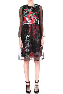 ERDEM Long-sleeved contrast overlay dress