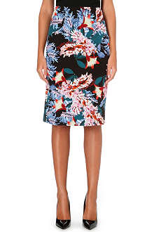 ERDEM Frida floral-print silk pencil skirt