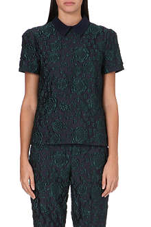 ERDEM Doreen collared jacquard top