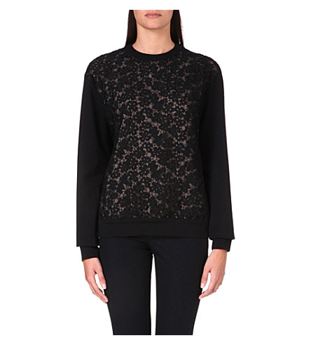 ERDEM Lace panel sweatshirt (Black