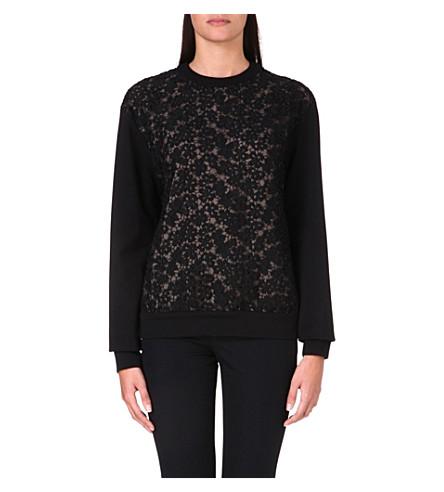 ERDEM Lace panel sweatshirt (Black