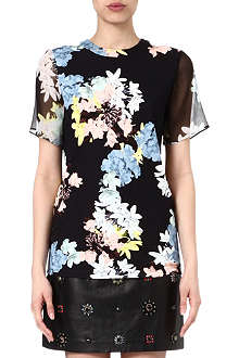ERDEM Printed cotton-blend top