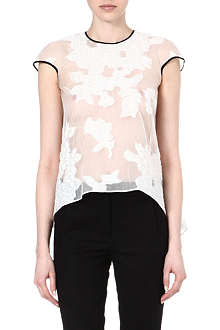 ERDEM Jasmine cape-back floral-appliqué top